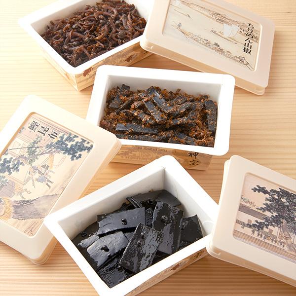 6個詰合せ(塩昆布、ちりめん山椒、鰹昆布、鰹田麩、とろろ昆布、細切り昆布 天然うまみ製法「山椒」 各1個)