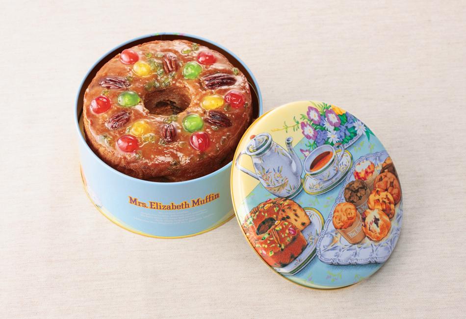 ミセスエリザベスマフィン缶入りフルーツケーキ