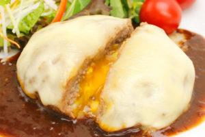小田原産牛目玉焼き&チーズハンバーグ カット