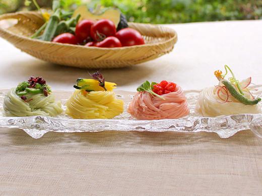 夏野菜を使った三輪素麺(トマト・オクラ・カボチャ)