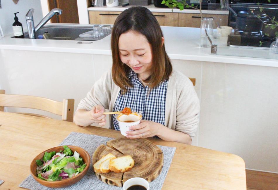 静岡産「あかでみトマト」で煮込んだ7種野菜と3種の豆が甘み豊かなミネストローネ 野菜をmotto 試食